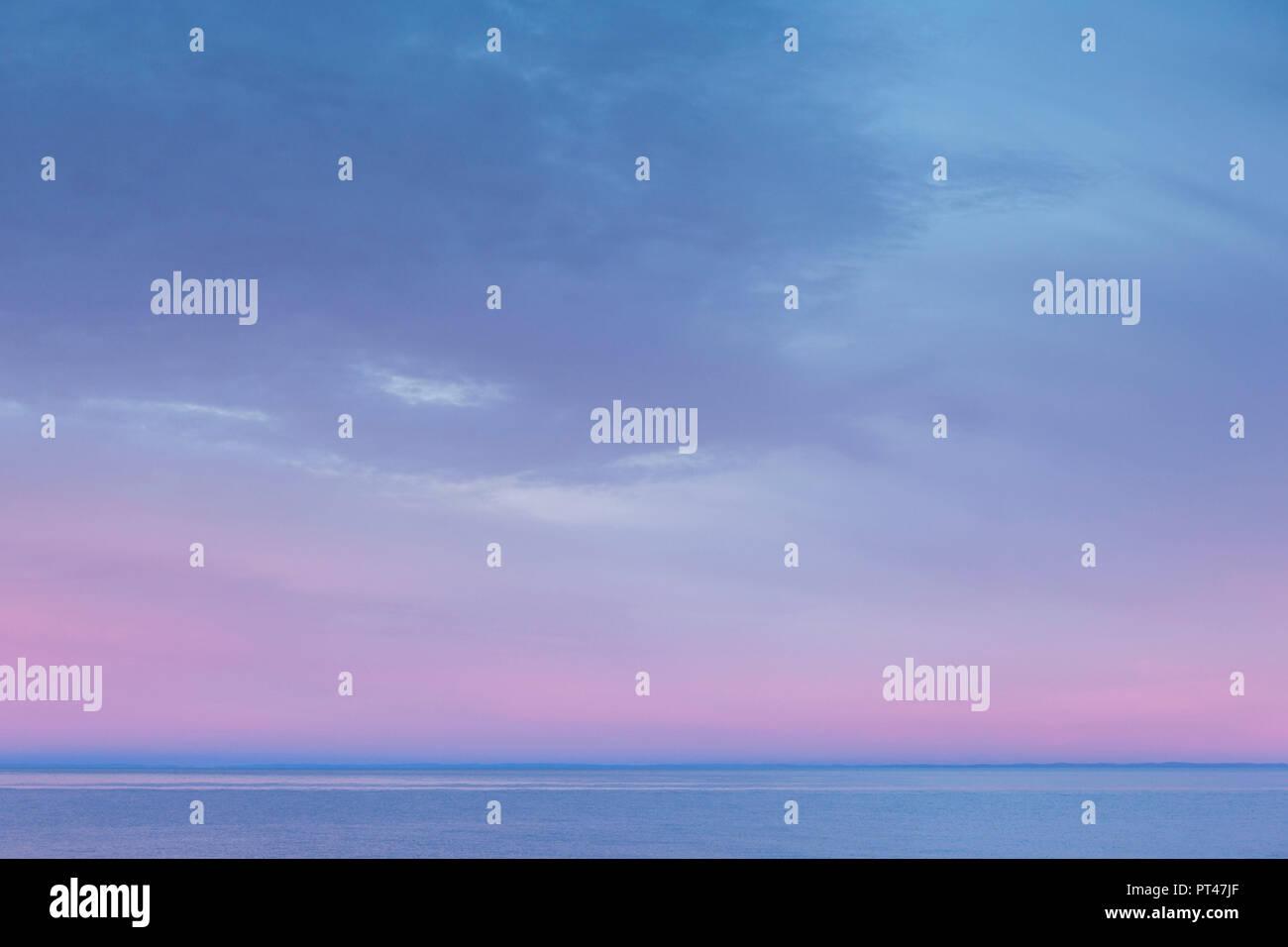 Canada, Quebec, Gaspe Peninsula, Sainte-Flavie, St. Lawrence River, motion-blur, dawn - Stock Image