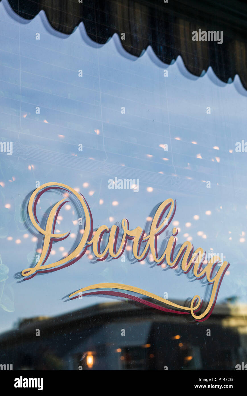 Canada, Quebec, Montreal, St-Laurent Street,  Darling cafe sign - Stock Image