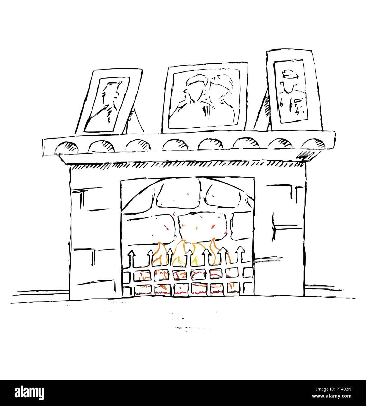 Hand drawn vector fire place. Doodle cartoon illustration. - Stock Vector