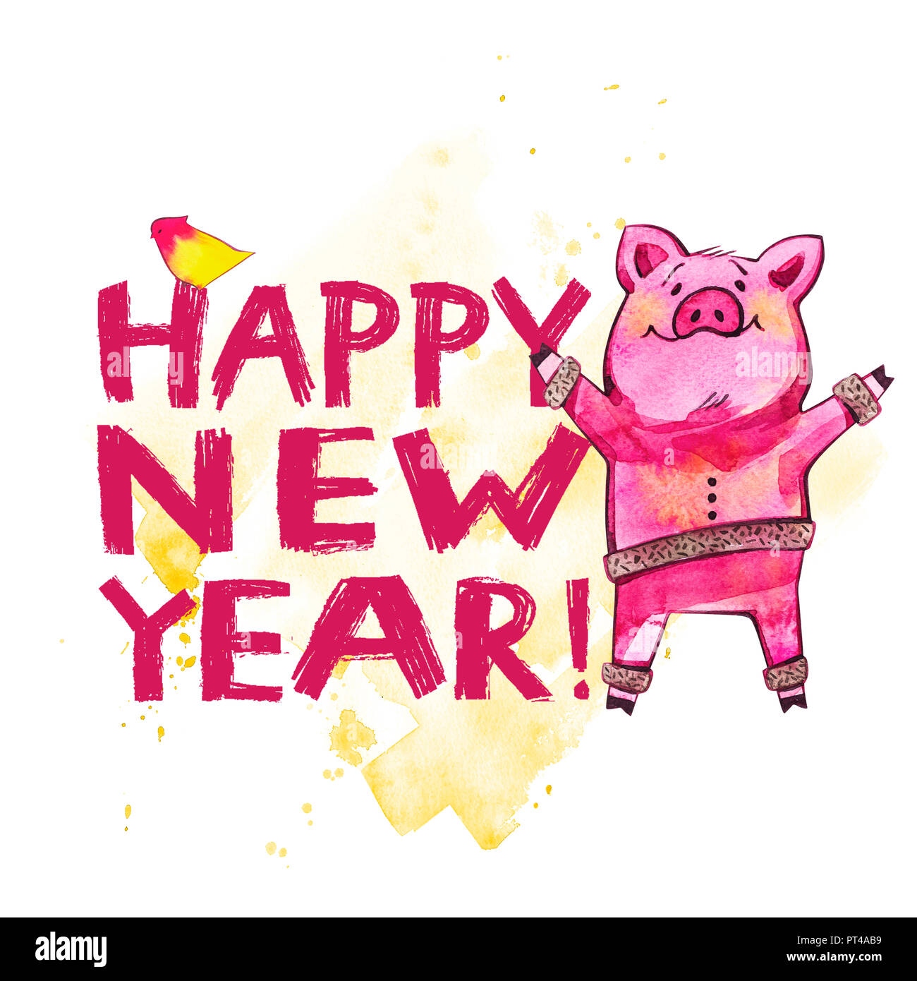 Cute Pig With Creative 2019 New Year Lettering Symbol Of The Year