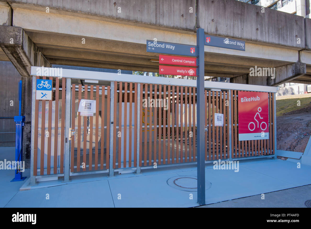A new secure bike or bicycle storage area at Macquarie University, Sydney, Australia - Stock Image