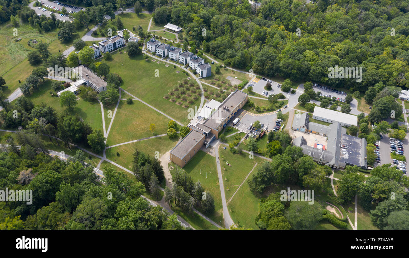 Aerial view of Bard College, Annandale-on-Hudson, NY, USA - Stock Image