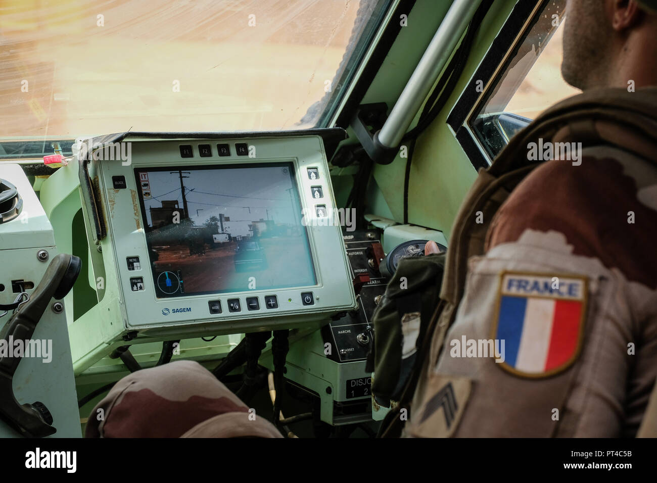 Gao's French base in Mali is the largest of the Barkhane external operation. It is from this base that the operations are launched against terrorist armed groups.. Gao - Mali - august 2018. La base française de Gao au Mali est la plus importante de l'opération extérieure Barkhane. C'est depuis cette emprise que les opérations sont lancées contre les groupes armés terroristes.. Gao - Mali - août 2018. - Stock Image