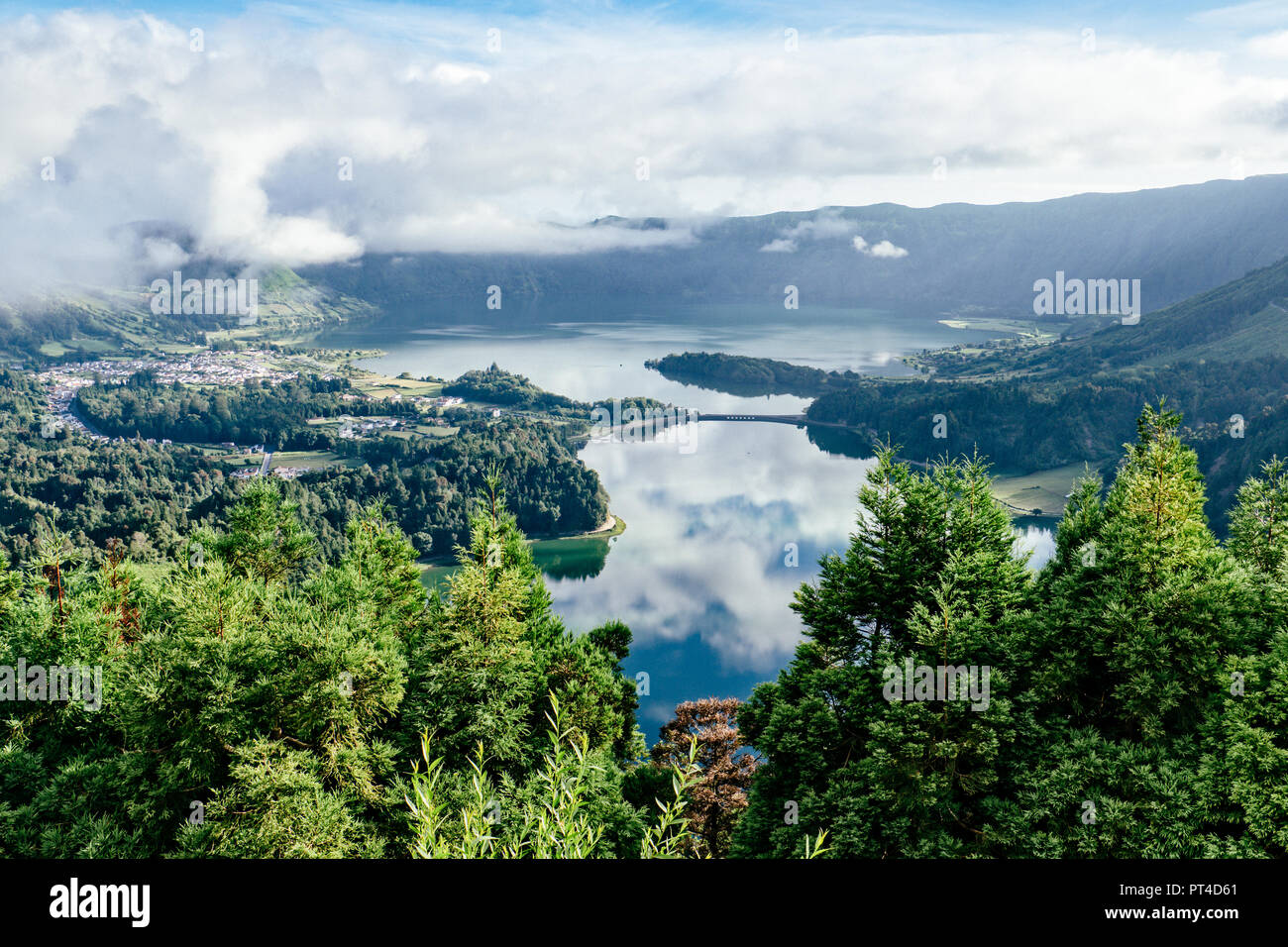 Sete Cidades, Azores Islands, Portugal. August 10, 2018 A viewpoint over volcanic lagoons Stock Photo