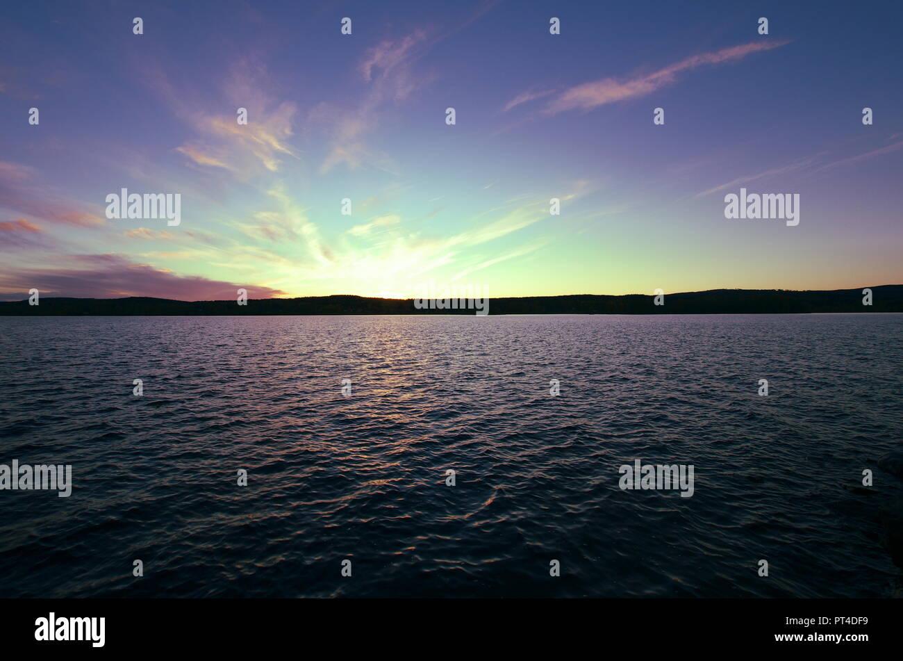 Beautiful autumn sunset in Dalarna in Sweden. - Stock Image