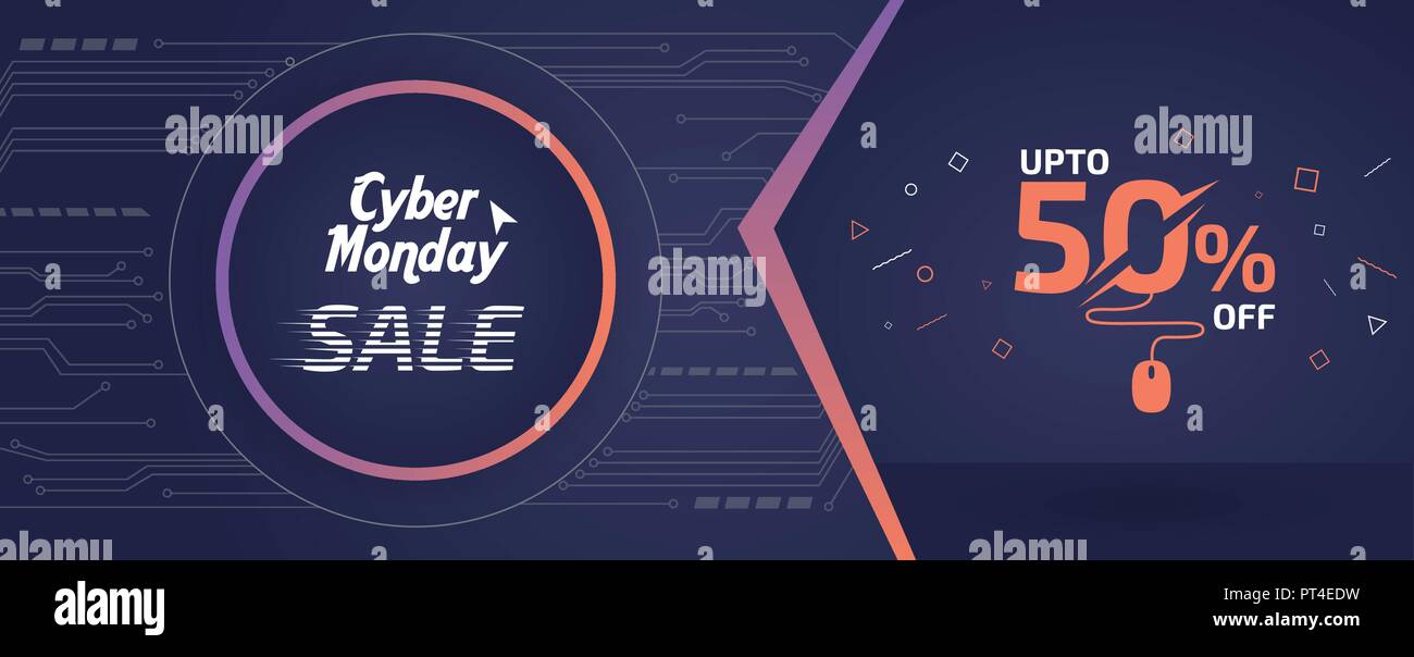 abstract cyber monday sale banner ad vector template design stock