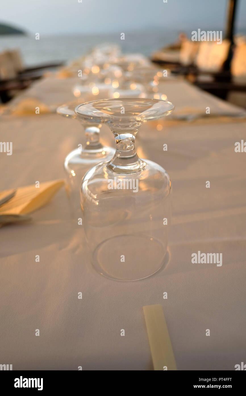 Europe, Greece, Corfu, restaurant, laid table - Stock Image
