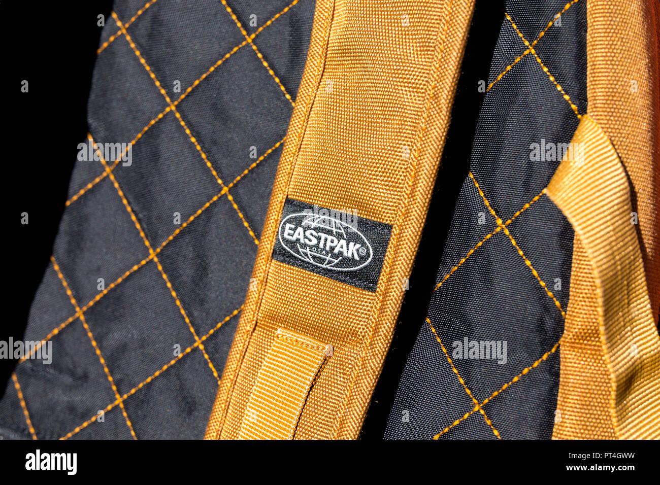 Eastpak bag backpack east pack school logo - Stock Image