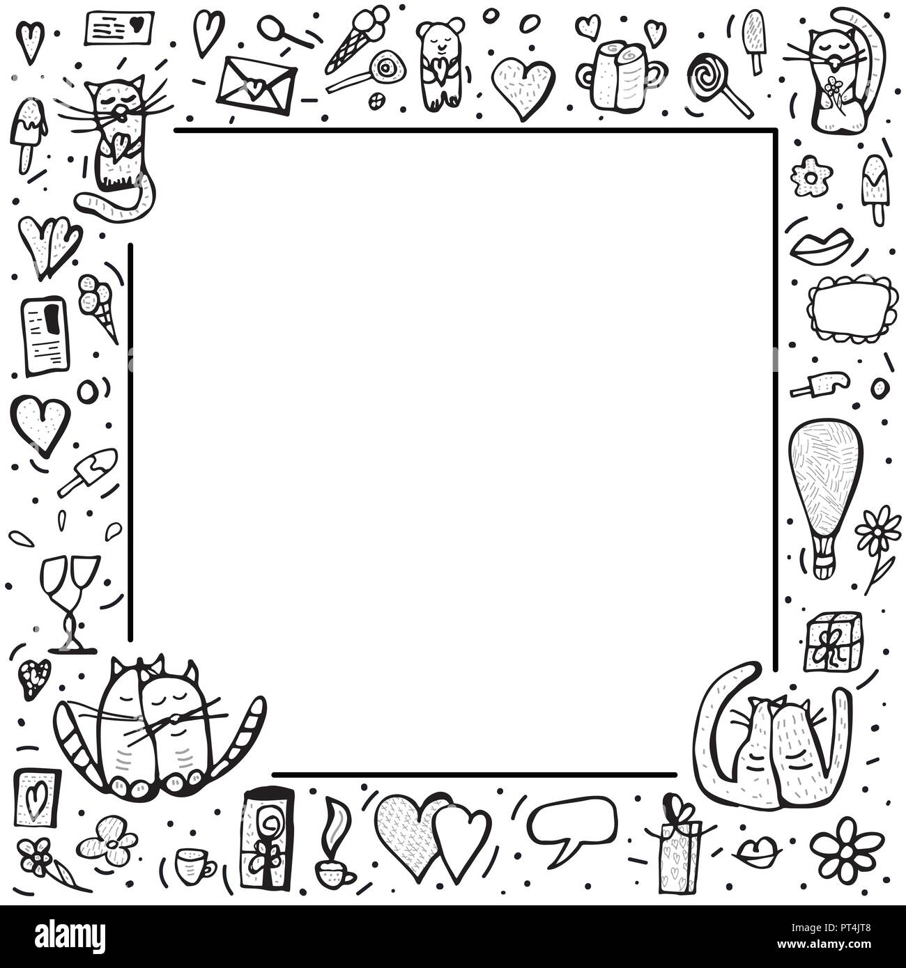 Square Frame With Cute Love Symbols In Doodle Style Cats