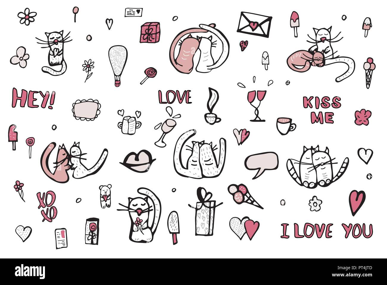 Set With Cute Love Symbols Cats Quotes Kiss Me I Love You Xoxo