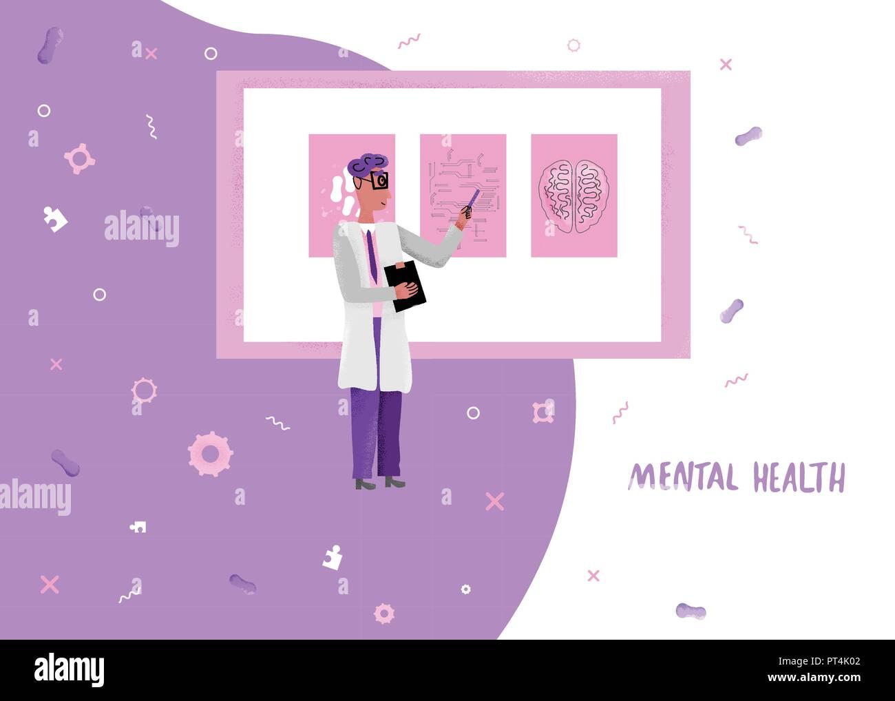 Flat Concept Of Mental Health Diagnostic Vector Banner Of Medical Mental Diagnostics Results Stock Vector Image Art Alamy