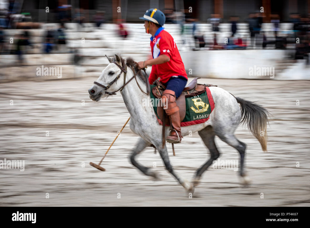 A polo match in Leh, Ladakh, India - Stock Image