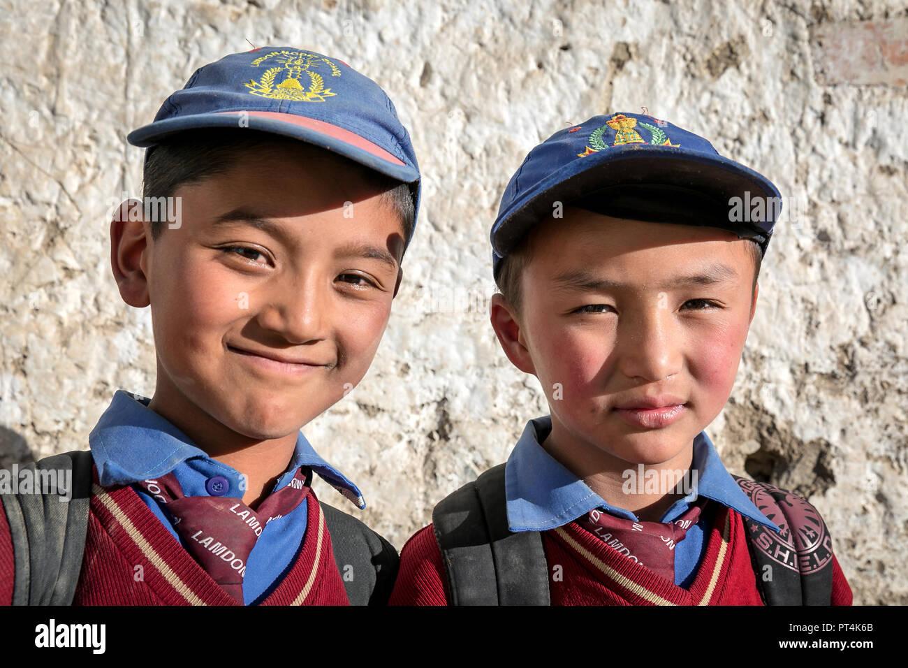 Two schoolboys in uniforms, Leh, Ladakh, Kashmir, India - Stock Image