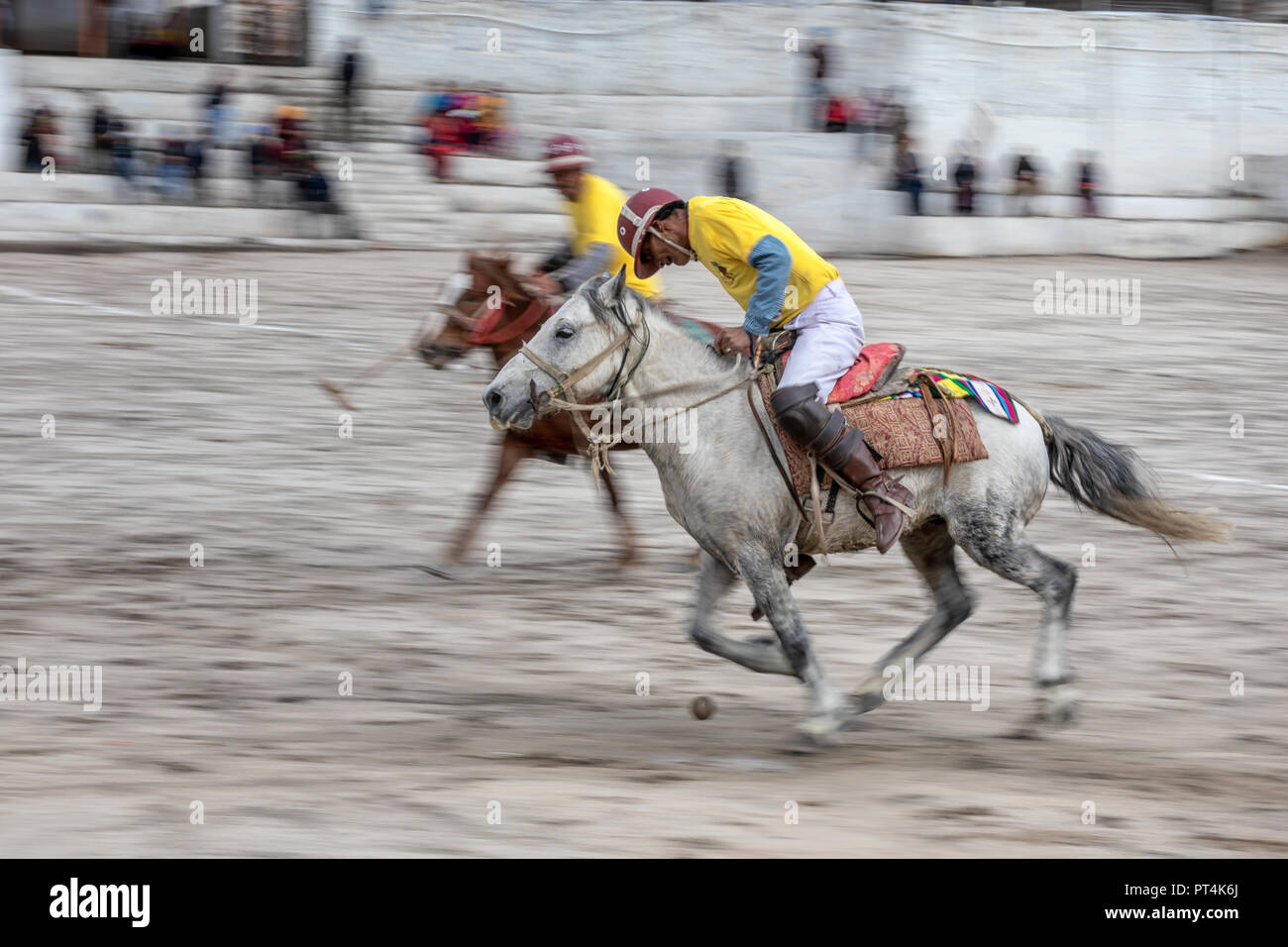 Men taking part in a polo match in Leh, Ladakh, Kashmir, India - Stock Image