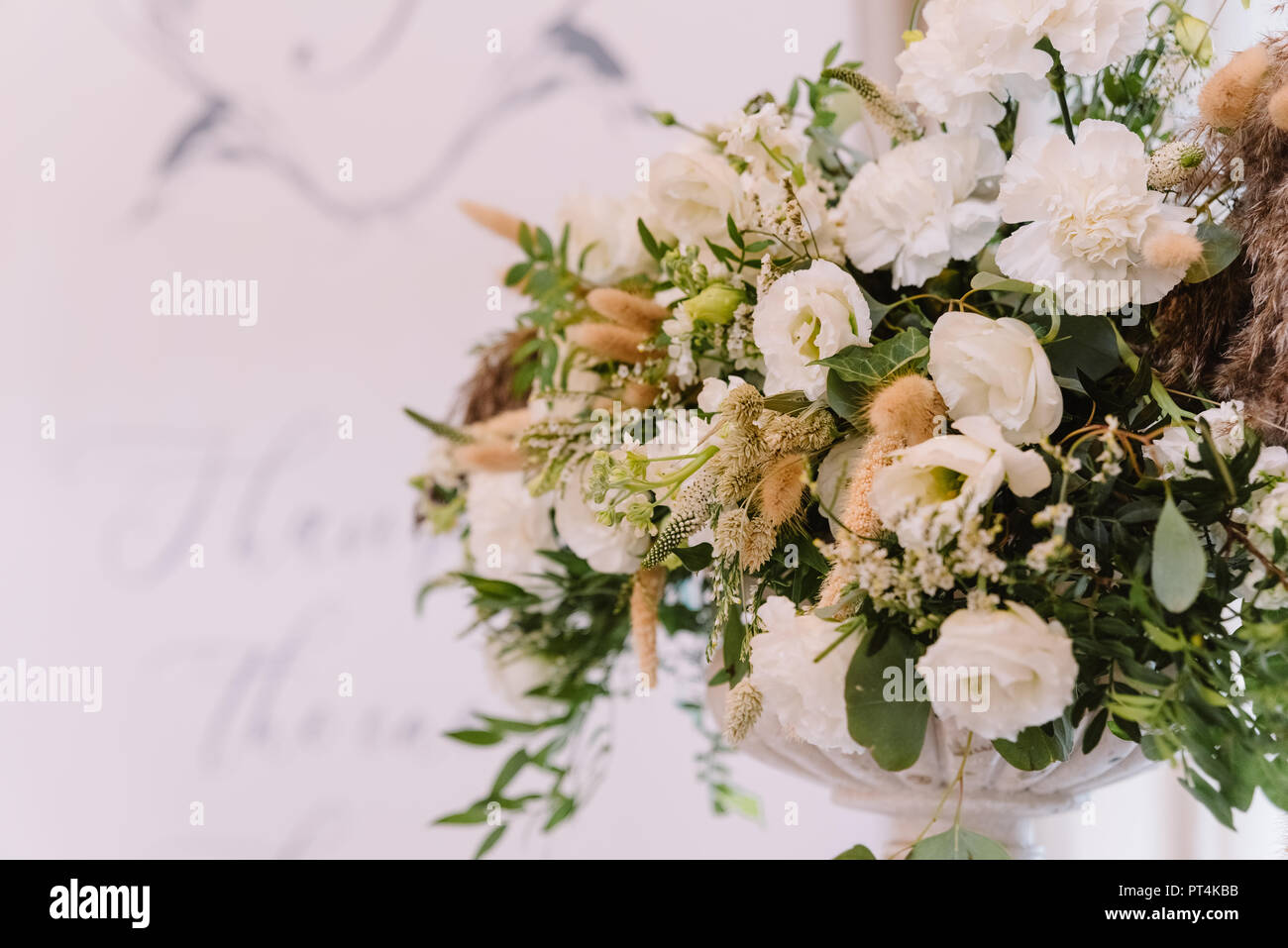 Decoration of a stylish beautiful wedding with fresh flowers. Wedding presidium - Stock Image