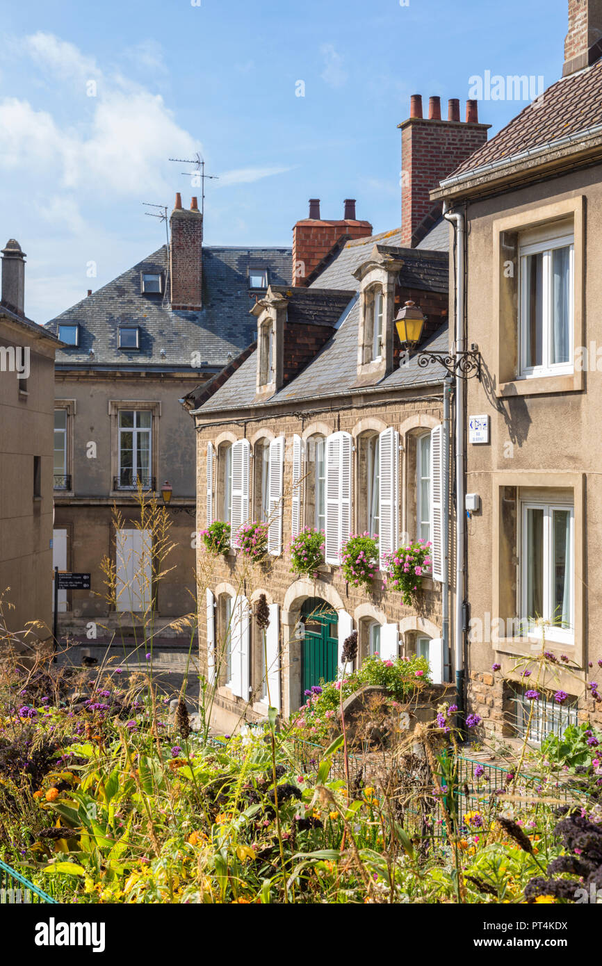 Houses at the fortified city of Boulogne-sur-Mer, France - Stock Image
