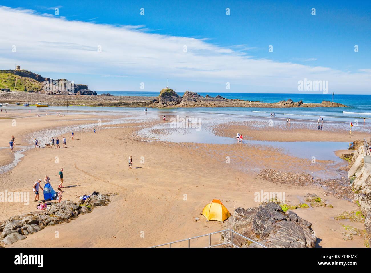 30 June 2018: Bude, Cornwall, UK -  Summerleaze  beach during the June heatwave. - Stock Image