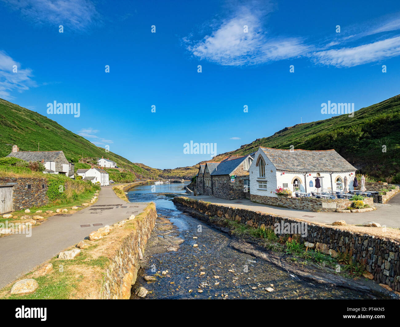 2 July 2018: Boscastle, Cornwall, UK - The coastal village with the River Valency running through the middle. Stock Photo