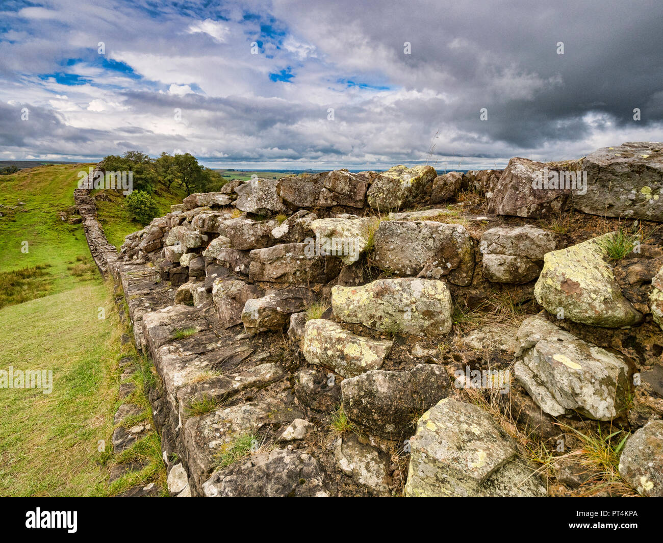 Hadrian's Wall near Walltown Crags, Northumberland, UK, on a moody summer day. Stock Photo