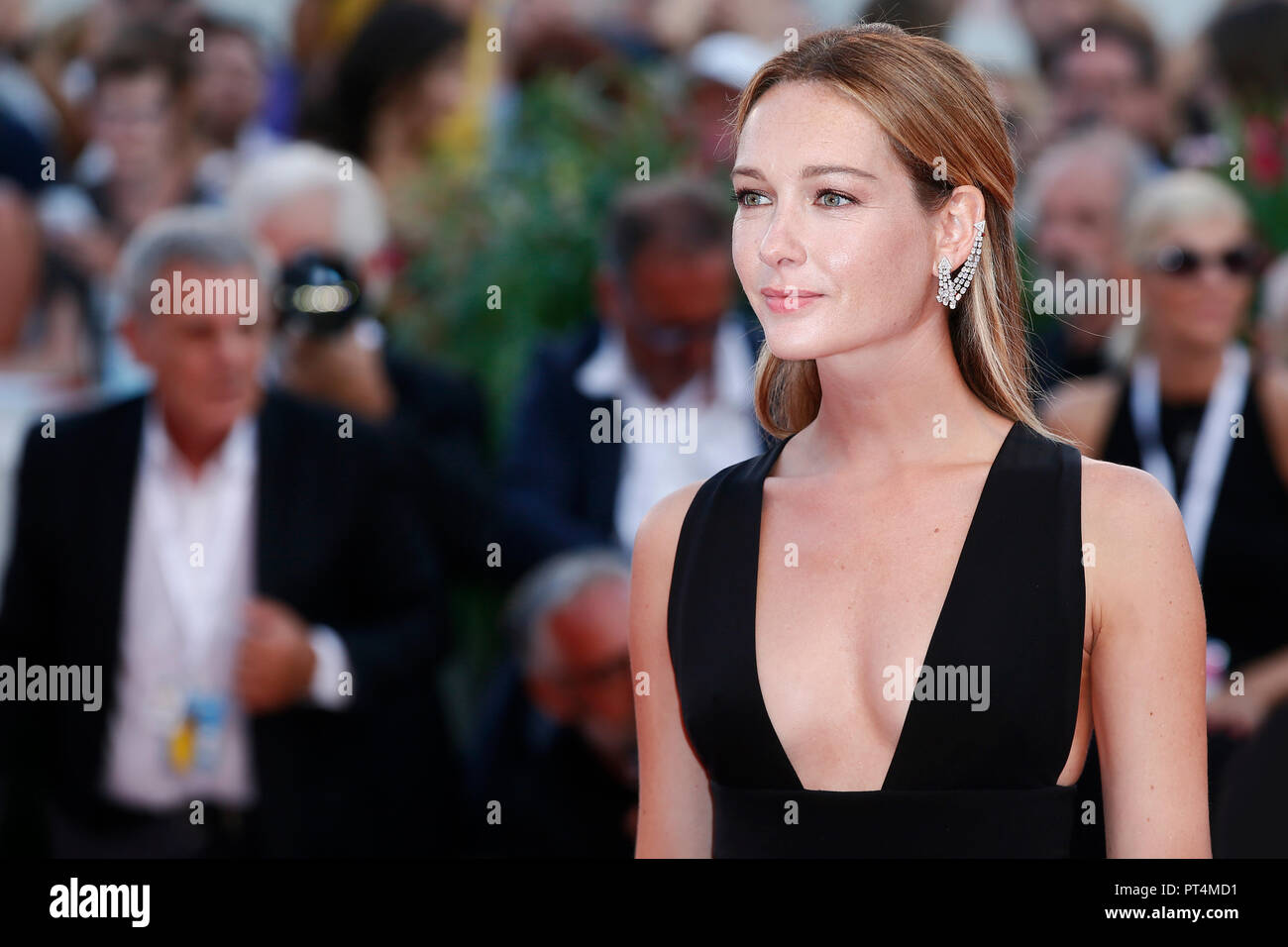 VENICE, ITALY - AUGUST 30: Cristiana Capotondi walks the red carpet of the movie 'The Favourite' during the 75th Venice Film Festival on August 30, 20 - Stock Image