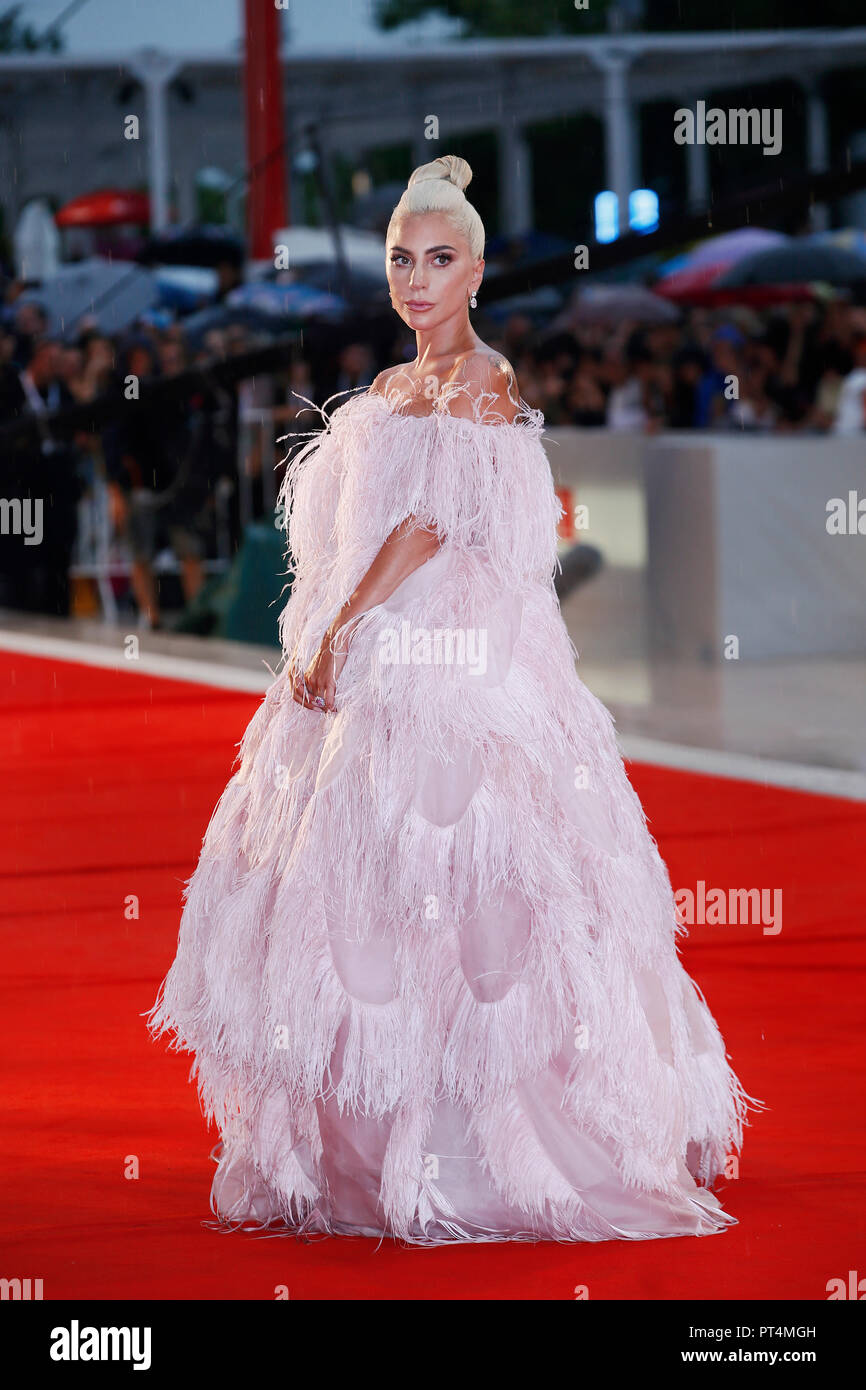 VENICE, ITALY - AUGUST 31: Lady Gaga attends the premiere of the movie 'A Star Is Born' during the 75th Venice Film Festival on August 31, 2018 in Ven - Stock Image