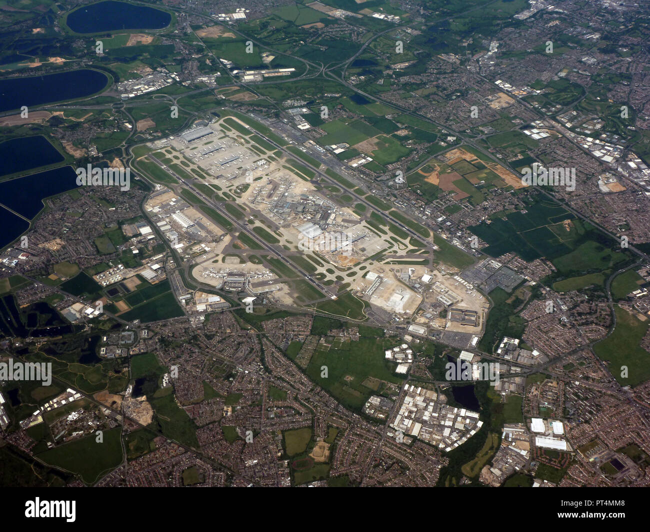 Heathrow Airport, seen from the air. - Stock Image