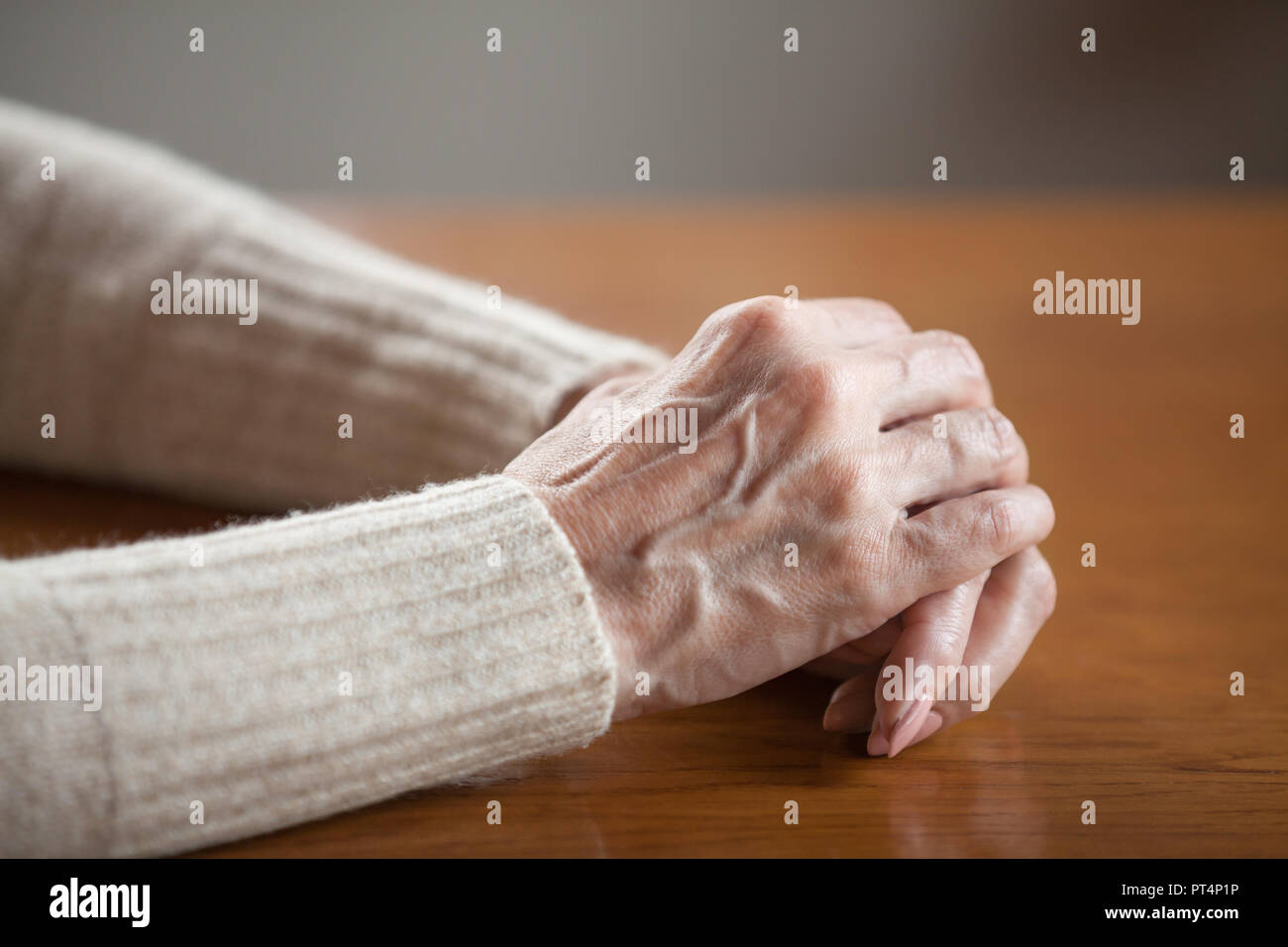 Close Up View Of Mature Old Female Person Wrinkled Hands With Veins