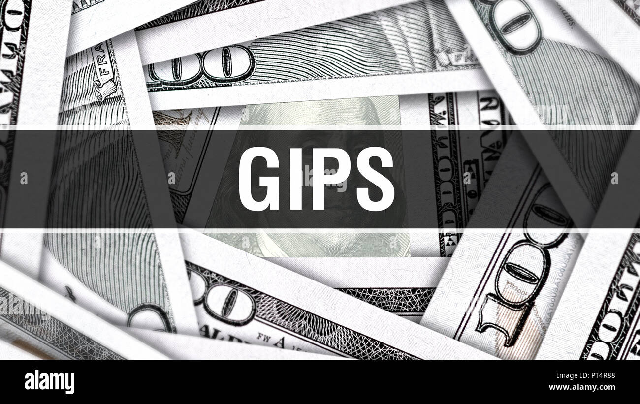 GIPS Closeup Concept. American Dollars Cash Money,3D rendering. GIPS at Dollar Banknote. Financial USA money banknote Commercial money investment prof - Stock Image