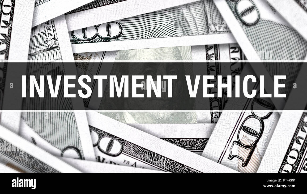 Investment Vehicle Closeup Concept. American Dollars Cash Money,3D rendering. Investment Vehicle at Dollar Banknote. Financial USA money banknote Comm Stock Photo