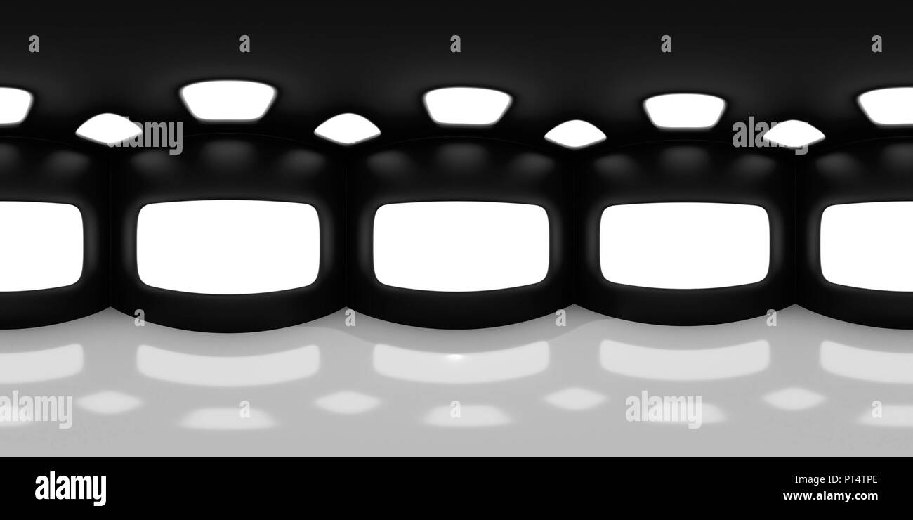 HDRI map, spherical environment panorama background in shades of black and white, light source render - abstract room (3d equirectangular render) Stock Photo