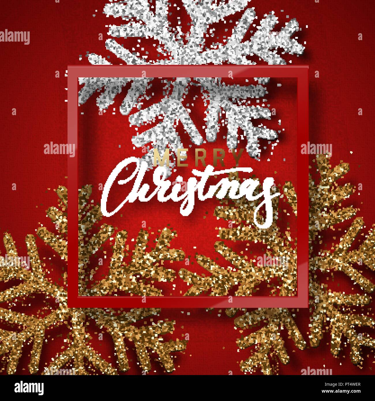 Christmas Background Red With Beautiful Bright Snowflakes Realistic