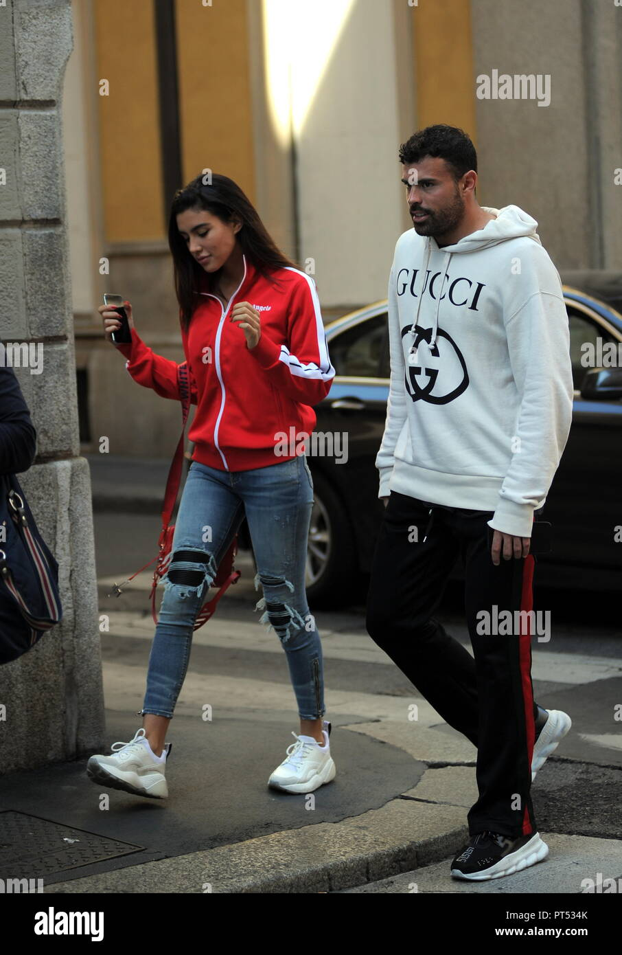 Milan Andrea Petagna And Girlfriend Michelly Sander In The Center 23 Year Old SPAL Striker National Former Atalanta
