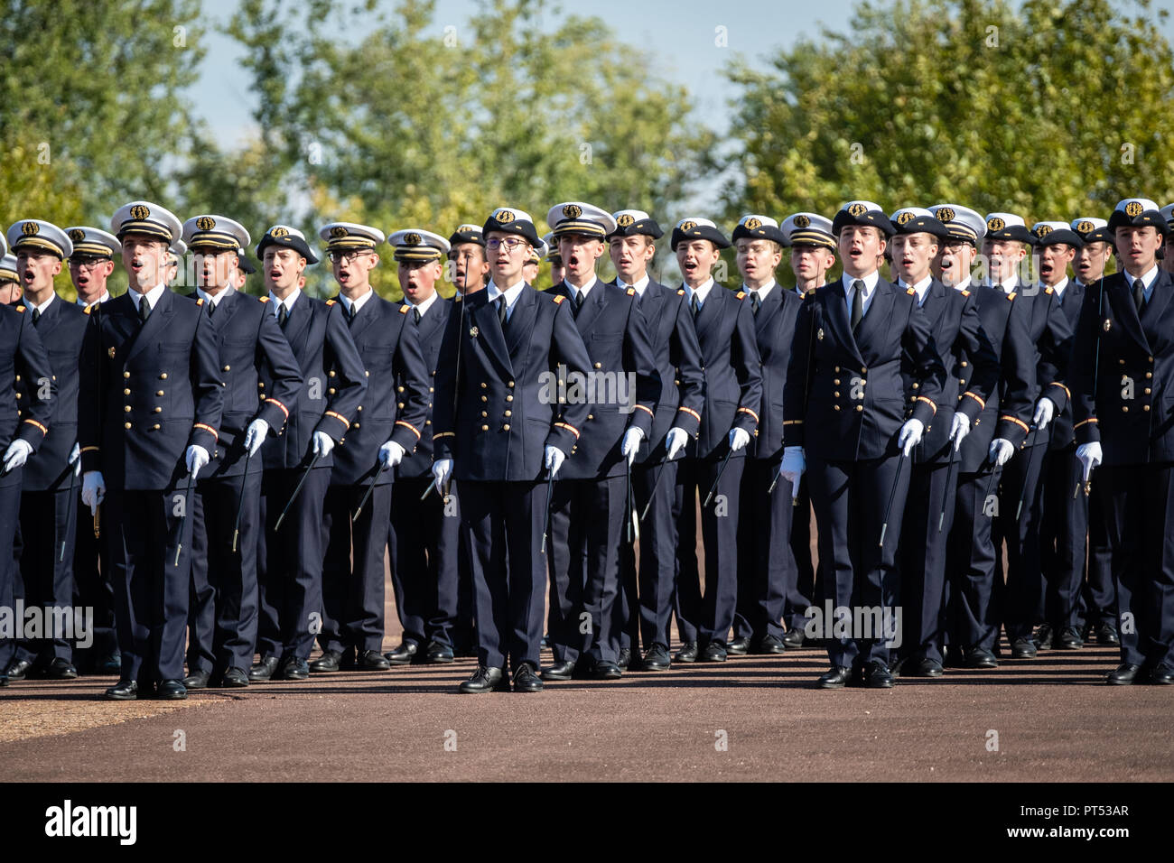 Bron, France. 6th Oct 2018. Florence Parly travelled to the Bron Saturday, October 6, 2018, military medical school for the baptism of 2017 promotions of 105 students (doctors and pharmacists). Credit: FRANCK CHAPOLARD/Alamy Live News - Stock Image