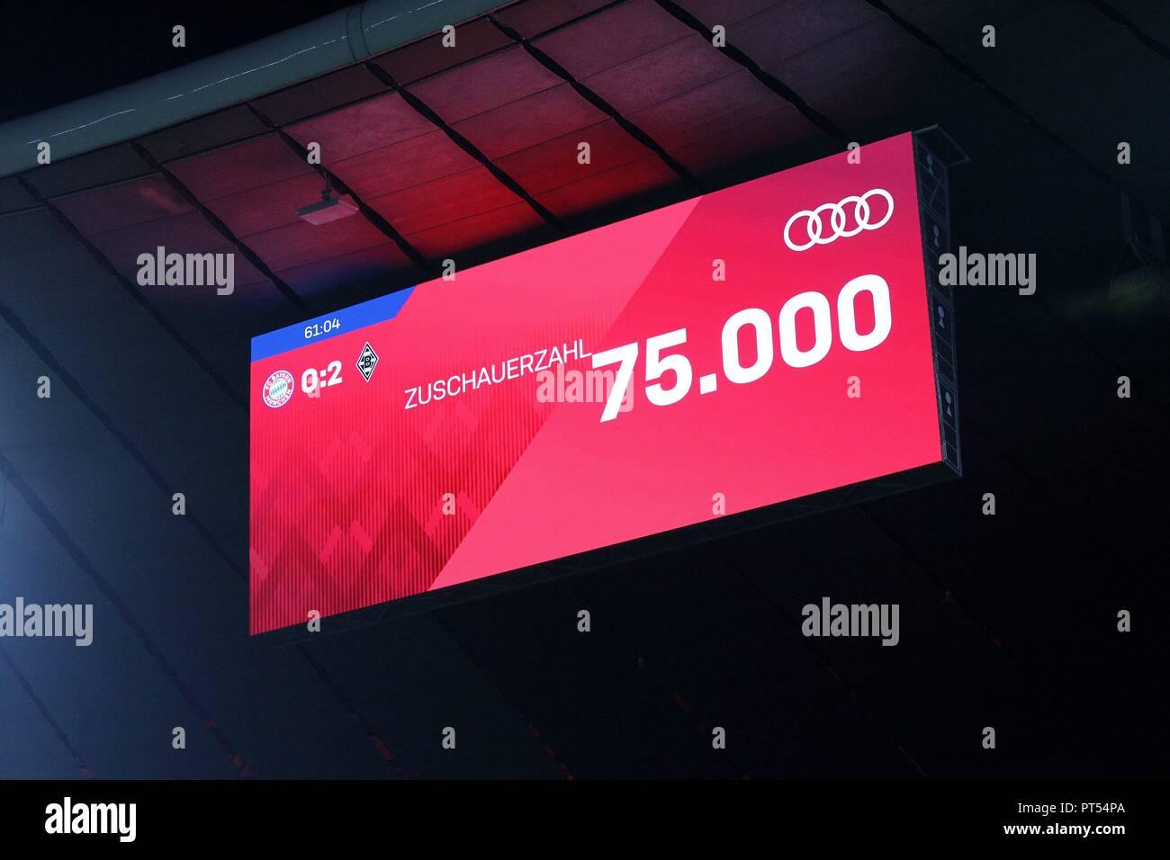 firo: 06.10.2018 Fuvuball, Football: 1.Bundesliga Bayern Munich - Borussia Mv? nchengladbach, number of spectators, scoreboard, depositor,   usage worldwide - Stock Image