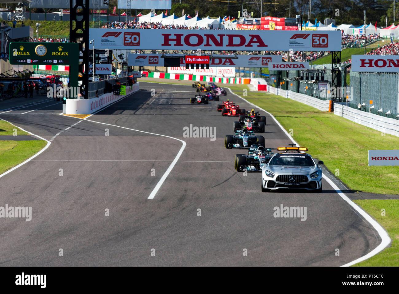 7th October 2018, Suzuka International Racing Course, Suzuka City, Japan; Formula One Grand Prix of Japan, race day; Safety car Stock Photo
