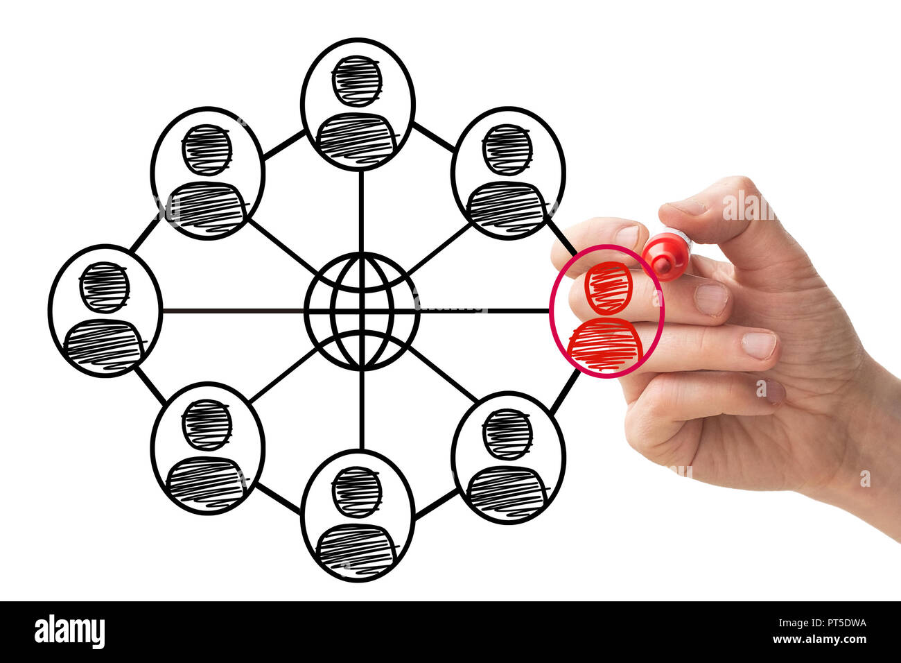 Social Network Concept on Whiteboard - Stock Image