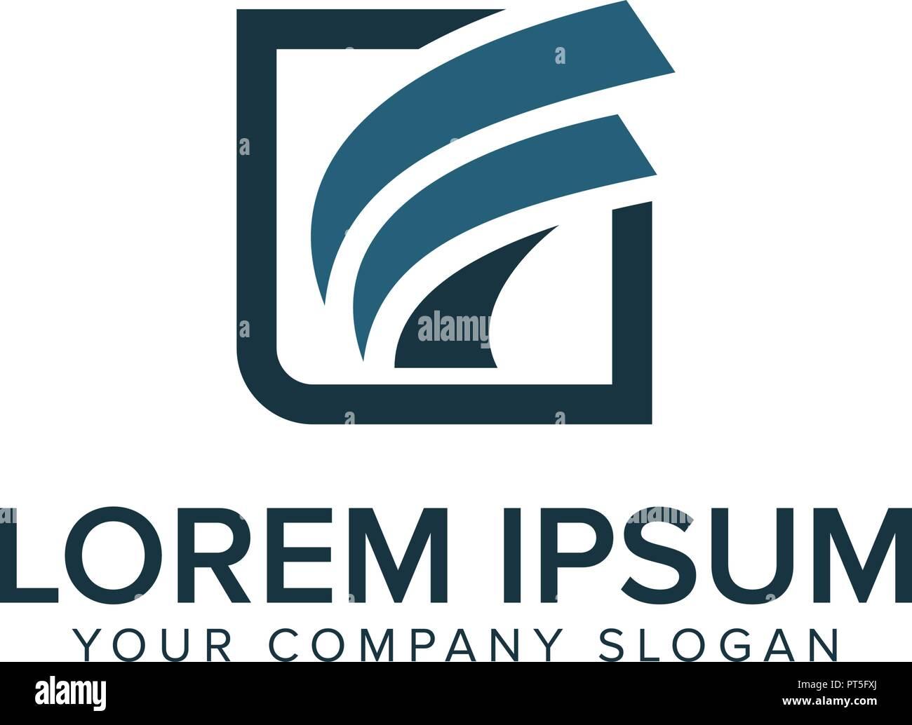 letter f logo square shape design concept template