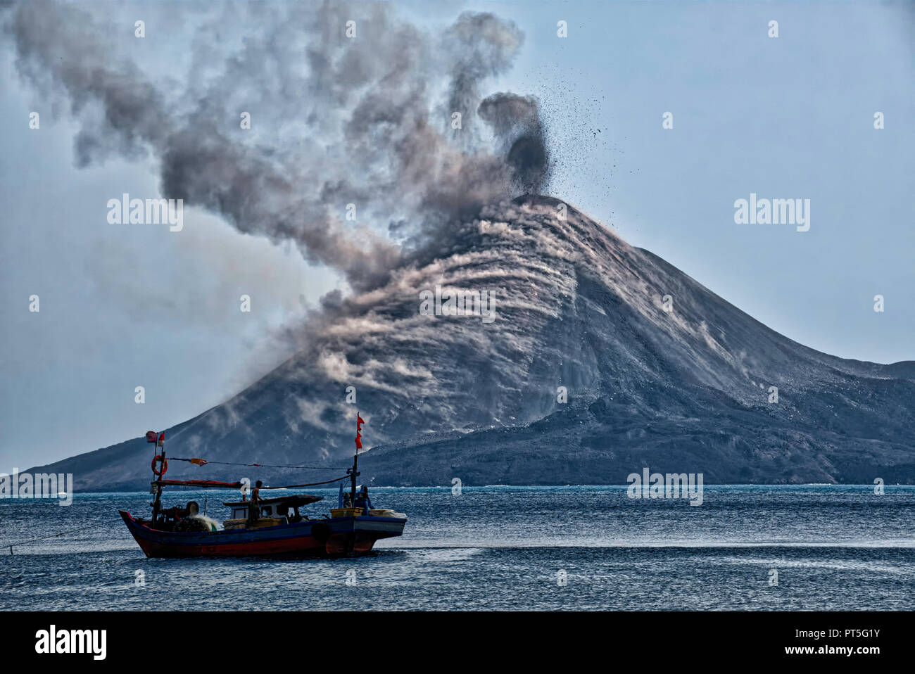 The Krakatoa island (also known as 'Krakatau') is situated near the Indonesian island of Rakata in western Indonesia, in the Sunda Strait between Java - Stock Image