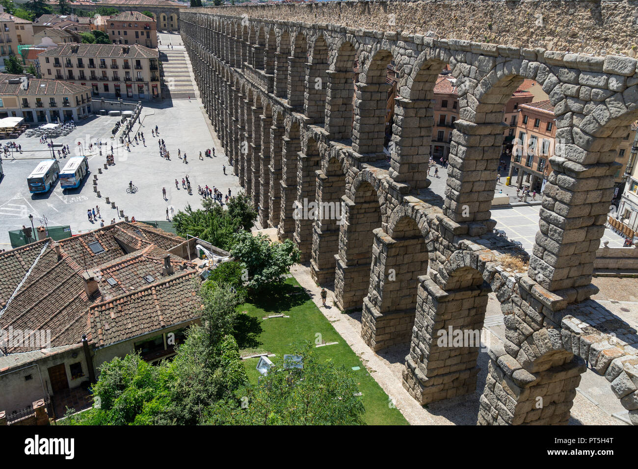 View of the famous Aqueduct of Segovia. Roman construction of the 1st century. Travel concept. Spain, Castile and Leon, Segovia. - Stock Image