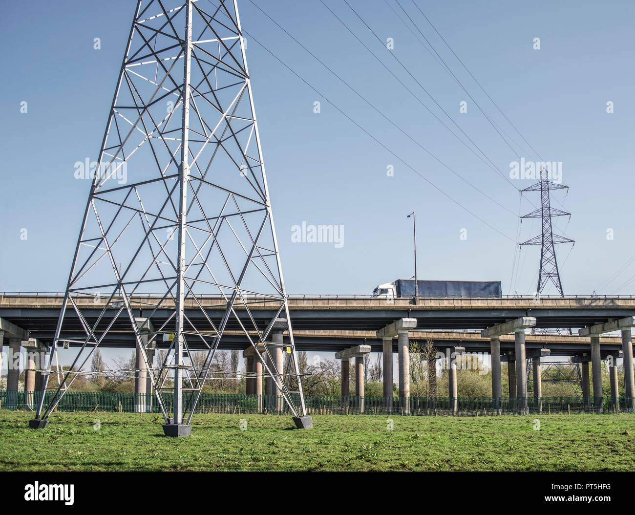 Transportation infrastructure. Flyovers at motorway interchange. This is the M5 at the interchange with the M6 in West Bromwich, West Midlands, UK. - Stock Image