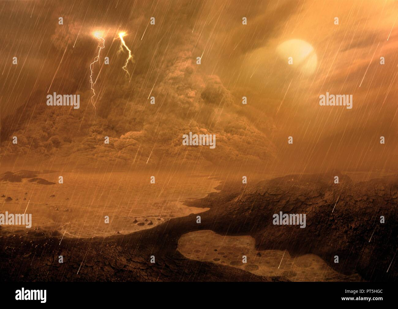 Dust storm of the surface of Titan, illustration. Titan, the largest moon of Saturn, is the only body in the known Solar System, aside from Earth, with liquid on its surface. But it's not water; it's liquid hydrocarbons. It's also the only satellite with a substantial atmosphere, made mostly of nitrogen. Scientists studying data from the Cassini mission by ESA have found dust storms raging around the moon's equator, as depicted in this illustration. Saturn is shown in the sky, although in reality it is unlikely it would be visible owing to the dense cloud coverage. Stock Photo