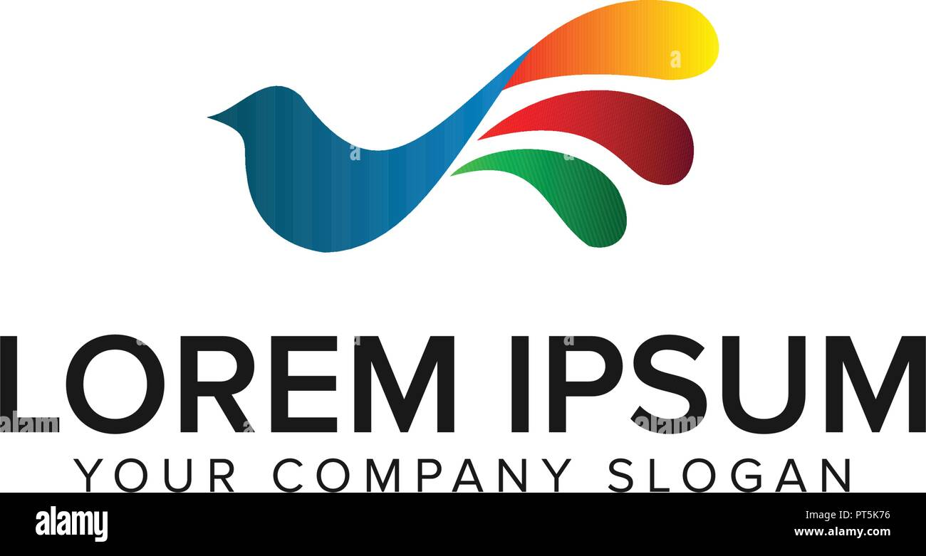 bird colorful logo design concept template stock vector art