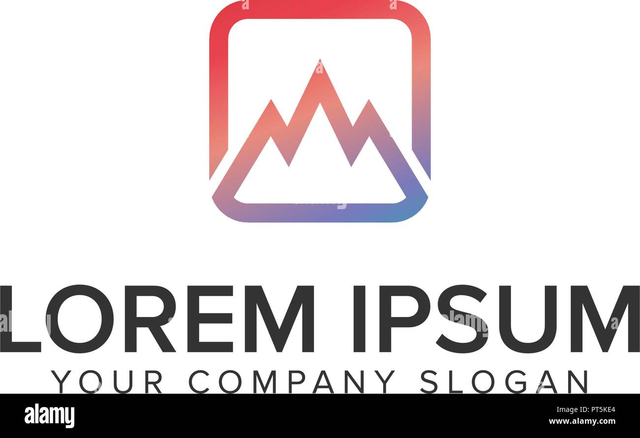 minimalist mountain logo design concept template - Stock Vector
