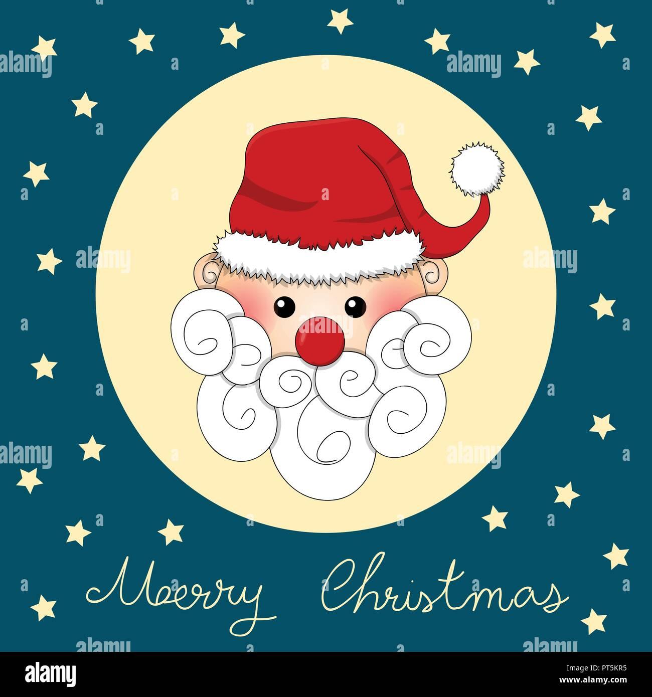 Santa Claus On Indigo Blue Christmas Greeting Card Vector