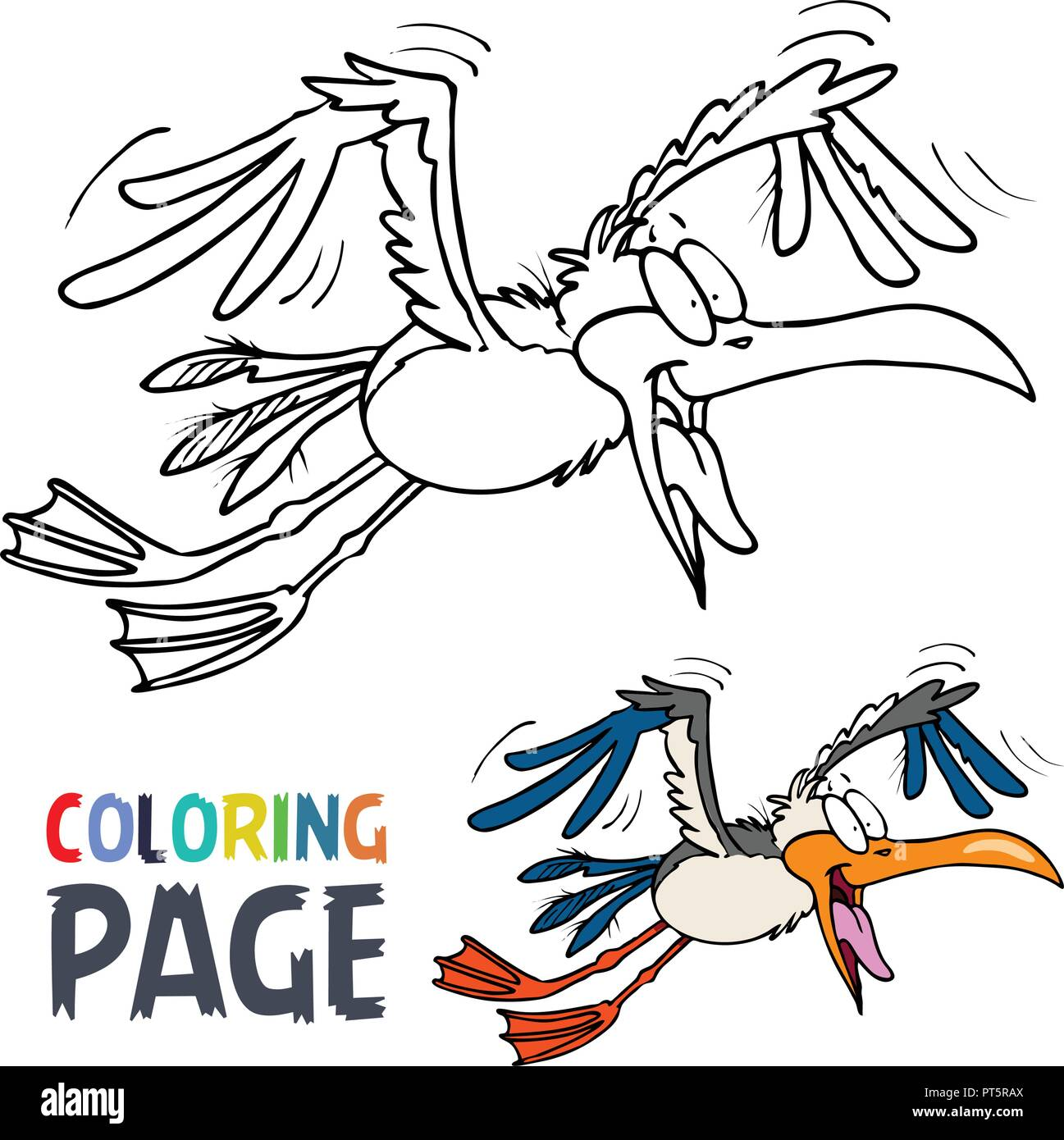 flying bird cartoon coloring page Stock Vector