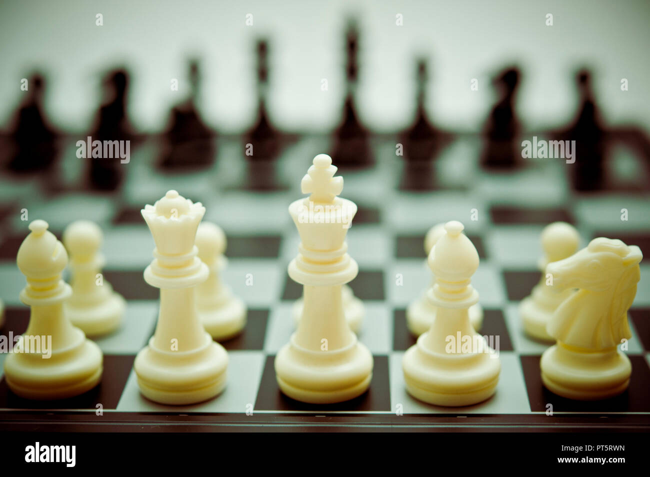 chessboard with all pieces at the starting position - Stock Image