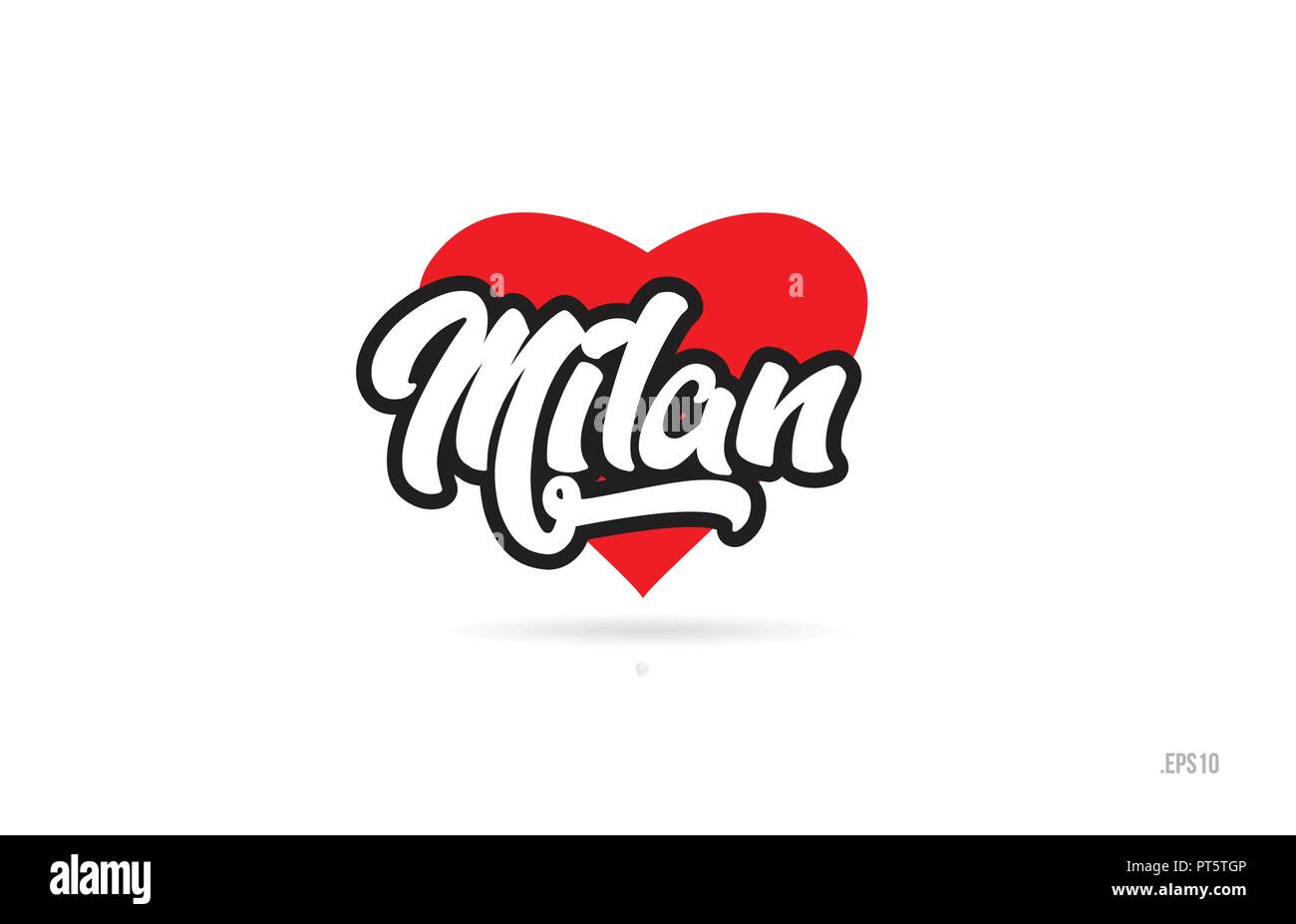 milan city text design with red heart typographic icon design suitable for touristic promotion - Stock Vector