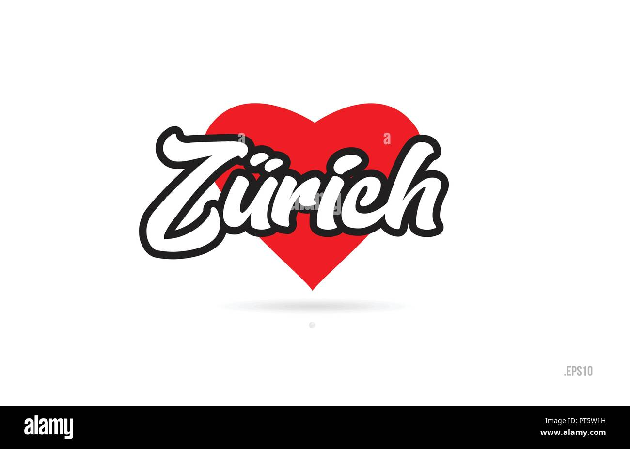 zurich city text design with red heart typographic icon design suitable for touristic promotion - Stock Vector