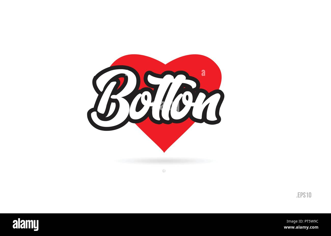 bolton city text design with red heart typographic icon design suitable for touristic promotion - Stock Image