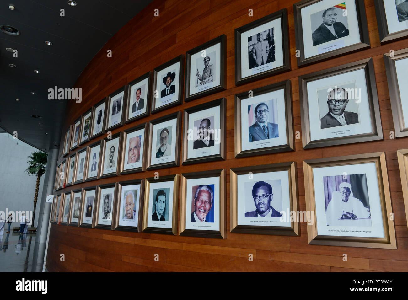 ETHIOPIA Addis Ababa, AU African Union building, wall with photos of african presidents and PM ie Nelson Mandela, Salvar Kiir Mayardit, Patrice Lumumba, Robert Mugabe / AETHIOPIEN, Addis Abeba, Gebaeude der AU Afrikanischen Union, Foyer mit Fotos afrikanischer Praesidenten und Premierminister - Stock Image